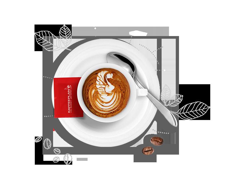 Kaffeetasse mit Cappucchino, Latte Art, Kaffeeplan